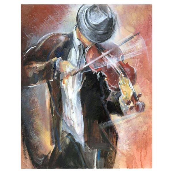 """Lena Sotskova, """"Street Musician"""" Hand Signed, Artist Embellished Limited Edition"""