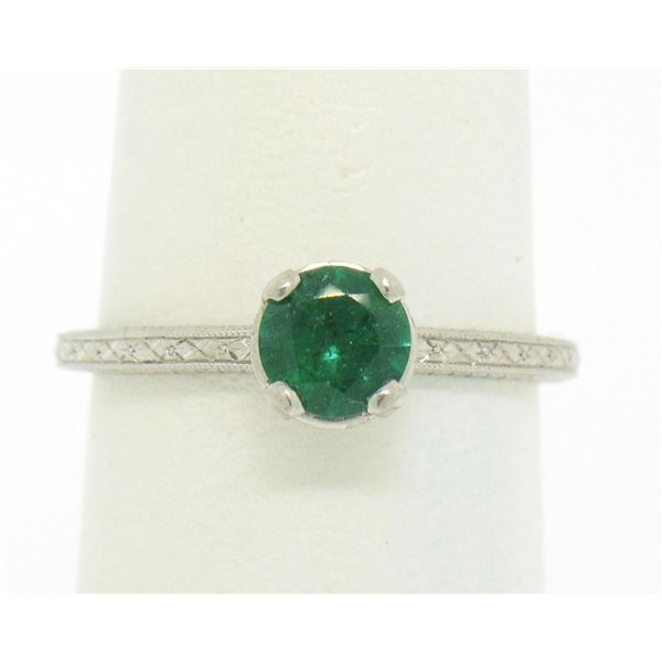 Platinum Etched Petite QUALITY .51 ctw Emerald Solitaire Ring Engagement