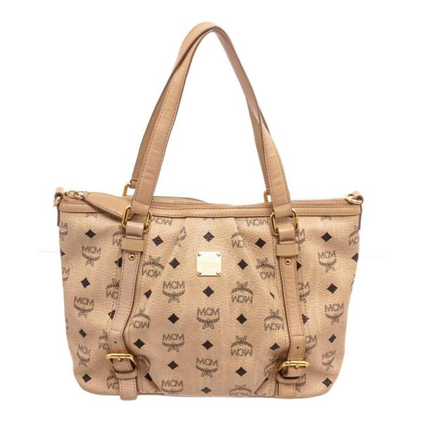 MCM Beige Coated Canvas Shoulder Bag