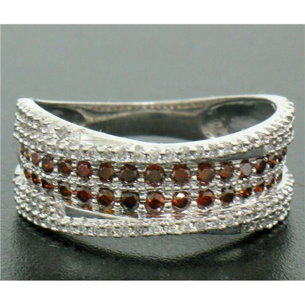 NEW Ladies 14k Gold 1.00 ctw Round White & Brown Diamond Wide Crossover Band Rin