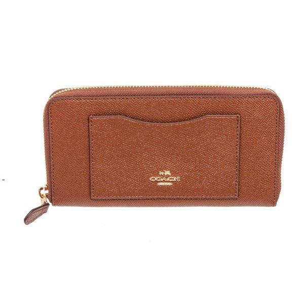 Coach Brown Crossgrain Leather Zippy Wallet