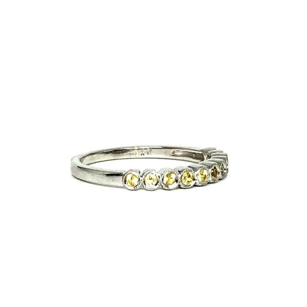 0.33 ctw Round Brilliant Yellow Sapphires Ring - 18KT White Gold