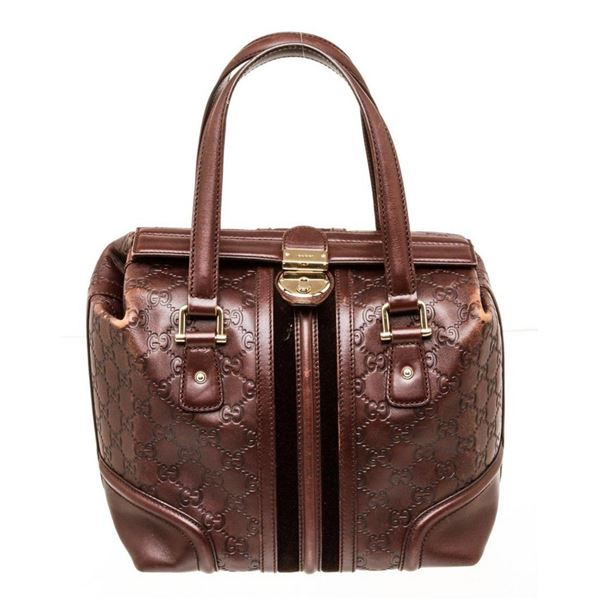 Gucci Brown Guccissima Leather Bowler Satchel Bag