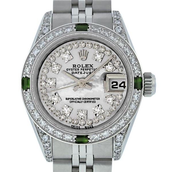 Rolex Ladies Stainless Steel Diamond Lugs MOP String Diamond & Emerald Datejust