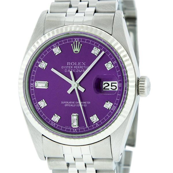 Rolex Mens Stainless Purple Diamond 36MM Datejust Oyster Perpetual Wristwatch