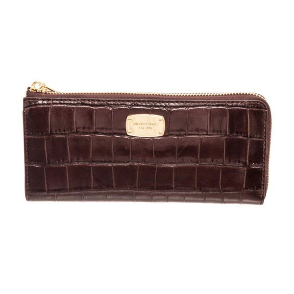 Michael Kors Brown Crocodile Embossed Leather Zippy Wallet