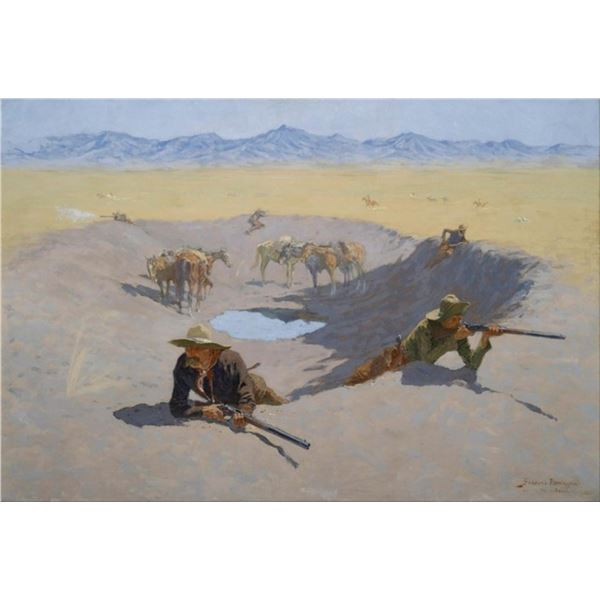 Frederic Sackrider Remington  - Fight for the Waterhole