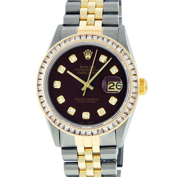 Rolex Mens 2 Tone Maroon Princess Cut Diamond Datejust Wristwatch With Rolex Box