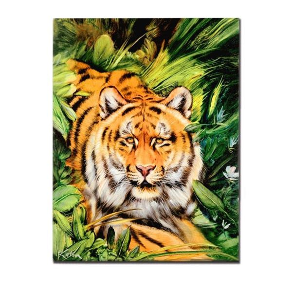 """Tiger Surprise"" Limited Edition Giclee on Canvas by Martin Katon, Numbered and"