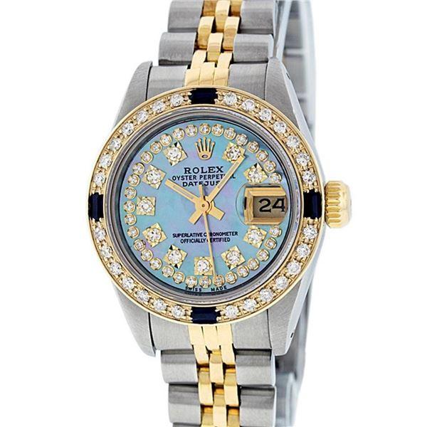 Rolex Ladies 2 Tone Blue MOP Diamond & Sapphire Datejust 26MM Oyster Perpetaul
