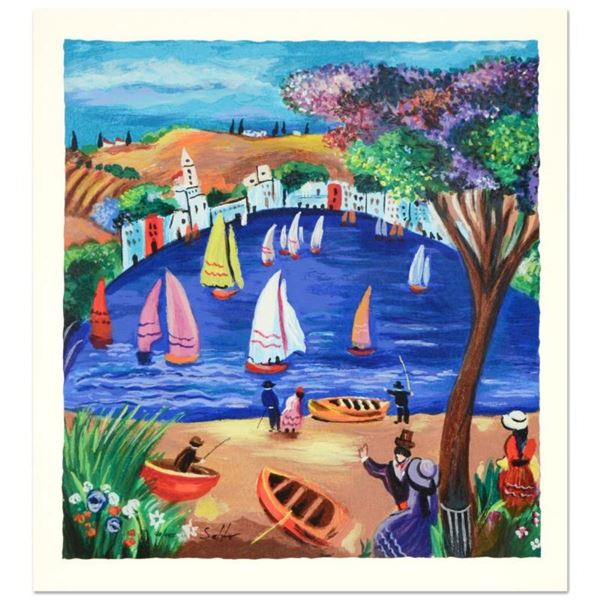 """Shlomo Alter, """"Near the Lake"""" Limited Edition Serigraph, Numbered and Hand Signe"""