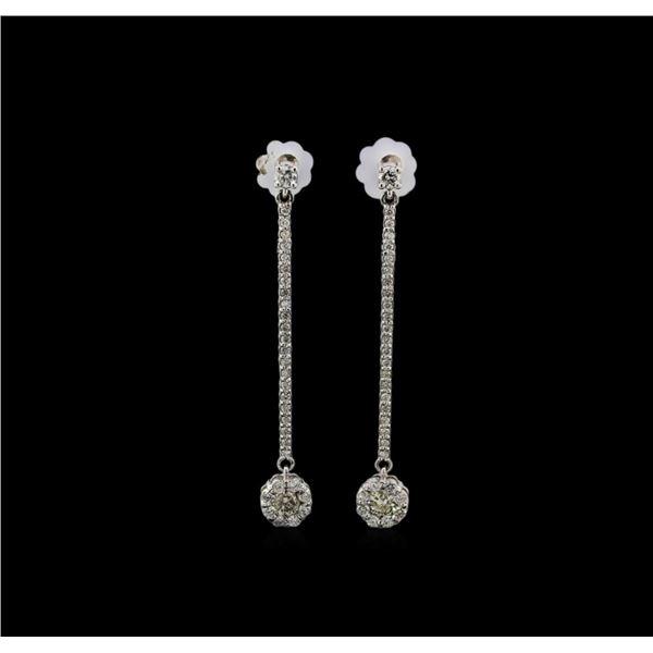 14KT White Gold 0.89 ctw Diamond Earrings