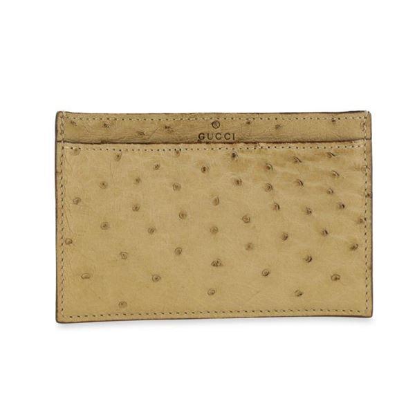 Gucci Beige Ostrich Card Holder Wallet