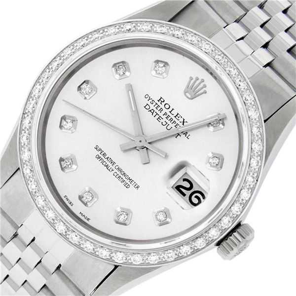 Rolex Mens Datejust 36 Stainless Steel Silver Diamond Oyster Datejust Wristwatch