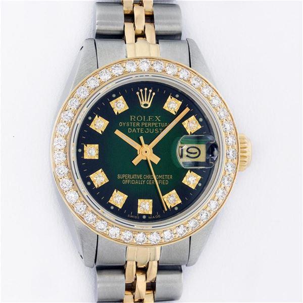 Rolex 2T YG/SS Green Vignette VS 1 ctw Diamond Oyster Perpetual Datejust Wristwa