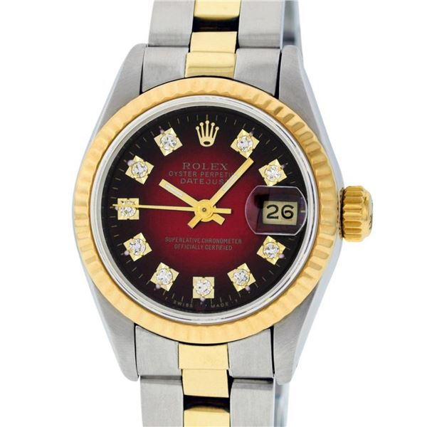 Rolex Ladies 2 Tone Red Vignette Diamond 26MM Datejust Wristwatch