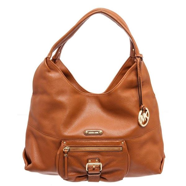 Michael Kors Orange Leather Austin large Shoulder Bag