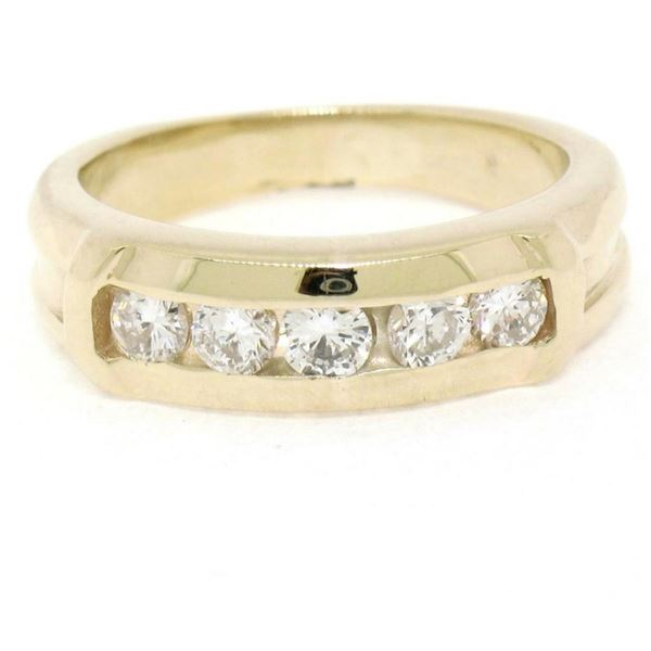 14K Yellow Gold 0.55 ctw 5 Round Channel Set E VVS Diamond Wedding Band Ring