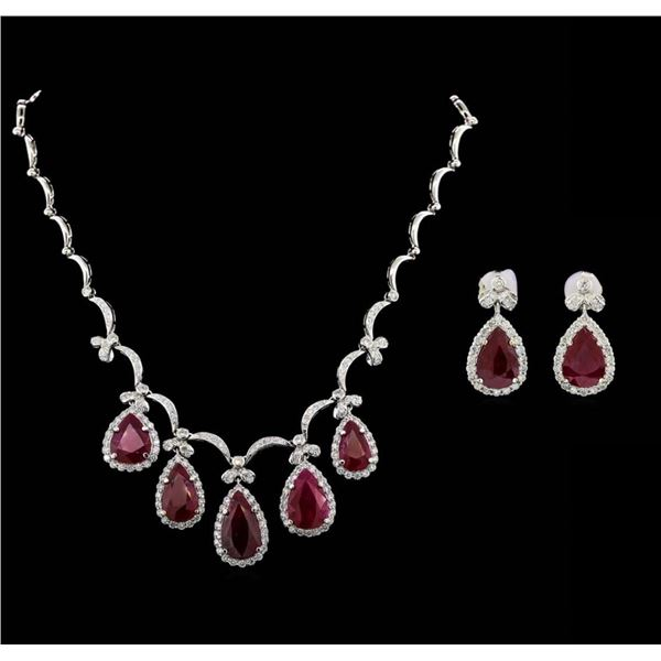 GIA Cert 44.80 ctw Ruby and Diamond Suite - 18KT White Gold