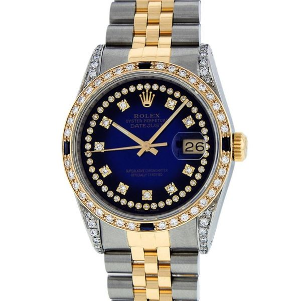 Rolex Mens 2 Tone Lugs Blue Vignette Diamond String & Sapphire Datejust Wristwat