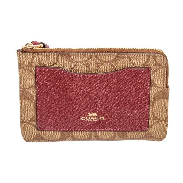 Coach Brown  Red Coated Canvas Boxed Corner Wristlet