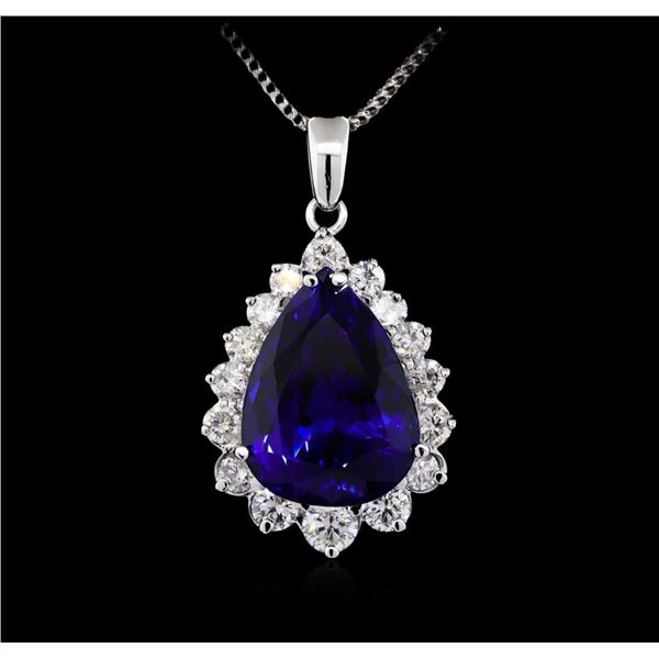 14KT White Gold GIA Certified 23.12 ctw Tanzanite and Diamond Pendant With Chain
