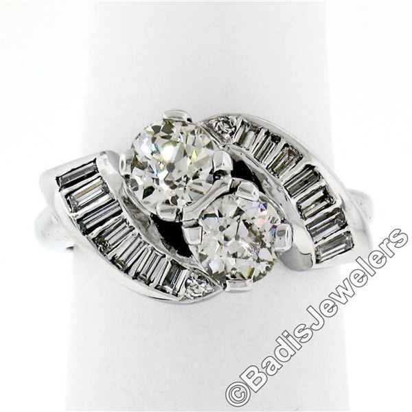 Art Deco Platinum 1.48 ctw Old European and Baguette Cut Diamond Bypass Ring