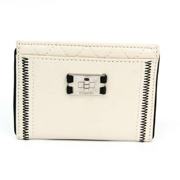 Chanel White Lambskin Leather Credit Card Holder