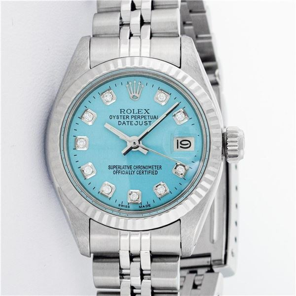 Rolex Ladies Stainless Steel Ice Blue Diamond 26MM Datejust Wristwatch Serviced