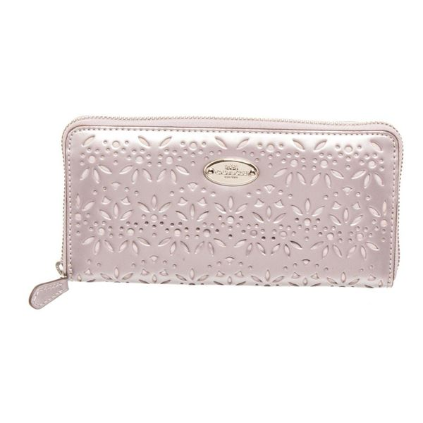 Coach Silver Leather Eyelet Accordian Zippy Wallet