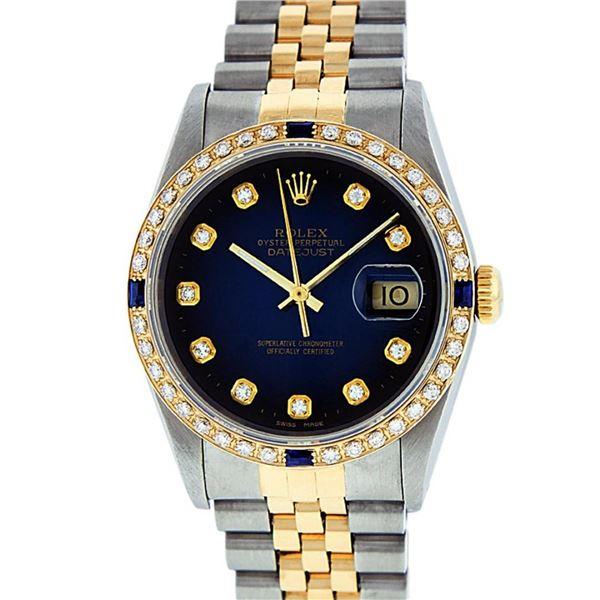 Rolex Mens 2 Tone Blue Vignette Diamond & Sapphire Datejust Wristwatch
