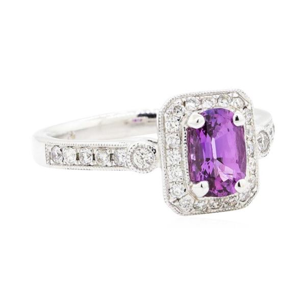 1.36 ctw Oval Mixed Purple Sapphire And Round Brilliant Cut Diamond Ring - 14KT