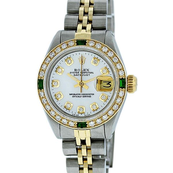 Rolex Ladies 2T White Diamond & Emerald Oyster Perpetual Datejust Wristwatch