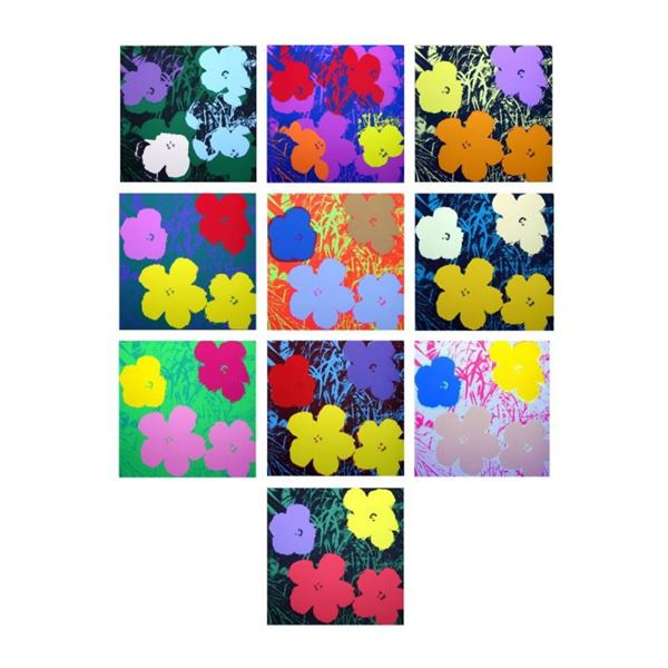 """Andy Warhol """"Flowers Portfolio"""" Suite of 10 Silk Screen Prints from Sunday B Mor"""