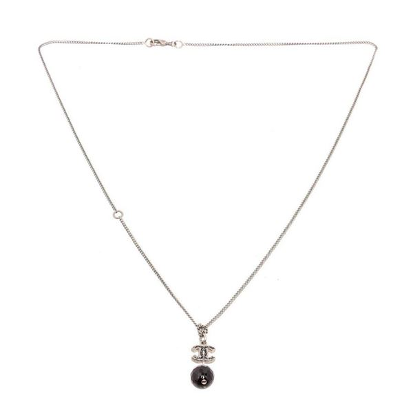 Chanel Silvertone CC Black Dangle Necklace