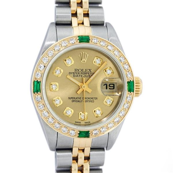 Rolex Ladies 2 Tone 18K Quickset Champagne Diamond & Emerald Datejust Wristwatch