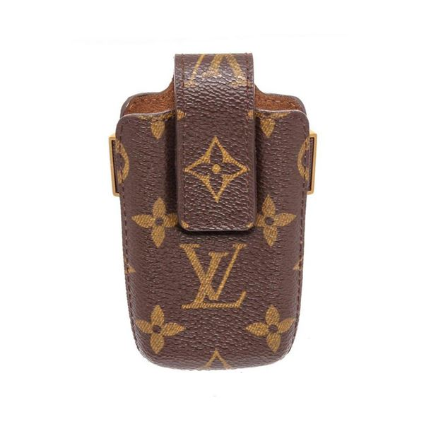 Louis Vuitton Monogram Canvas Leather Flip Phone Case Holder