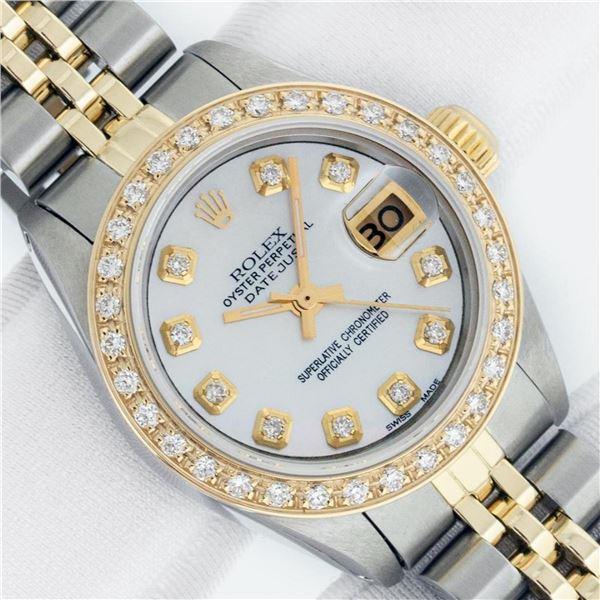 Rolex Ladies 2 Tone MOP Diamond Datejust Wristwatch With Rolex Box