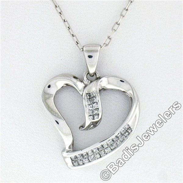10kt White Gold 0.25 ctw Dual Channel Princess Cut Diamond Open Heart Pendant Ne