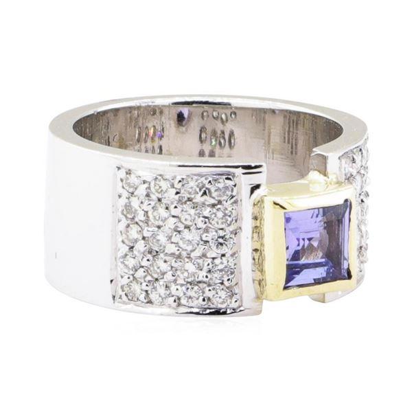 1.20 ctw Tanzanite And Diamond Ring - 14KT White And Yellow Gold