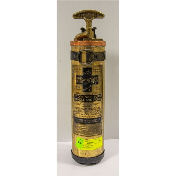 ANTIQUE BRASS FIRE EXTINGUISHER (FULL)