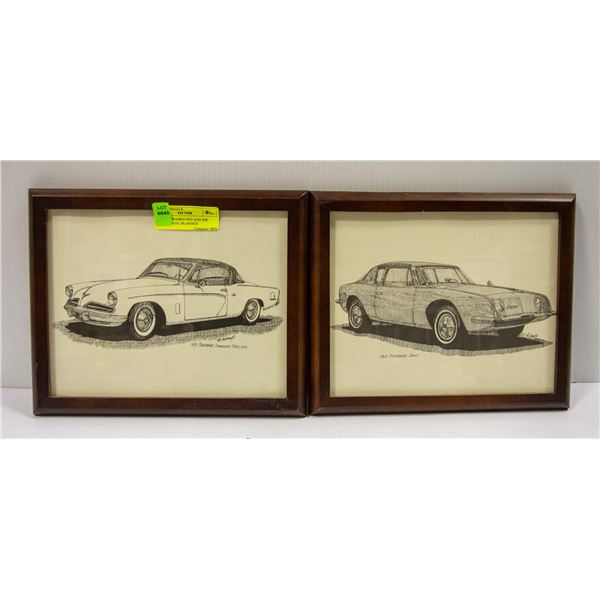 SET OF 4 FRAMED PEN AND INK STUDEBAKER DRAWINGS