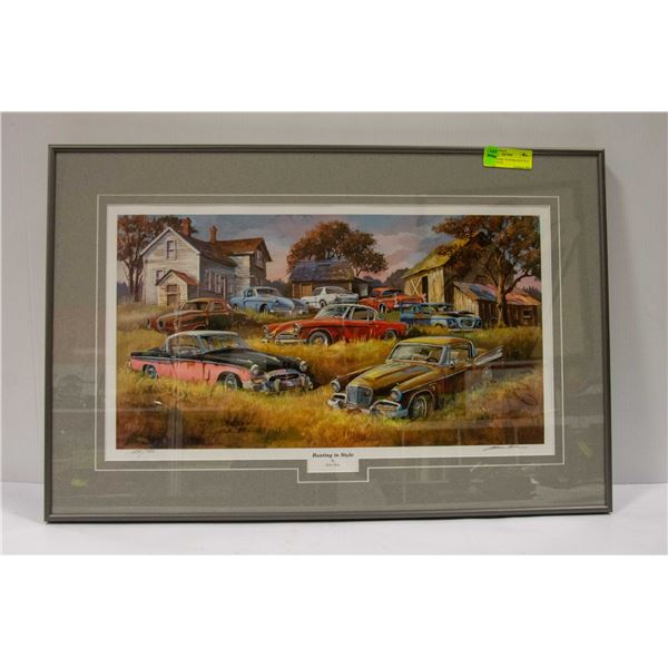 """STUDEBAKERS """"RUSTING IN STYLE"""" BY DALE KLEE 29X19"""