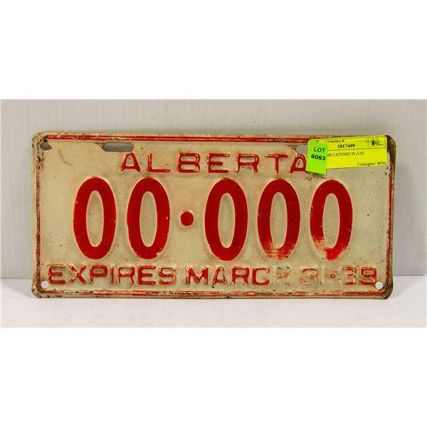 1939 00.000 LICENSE PLATE