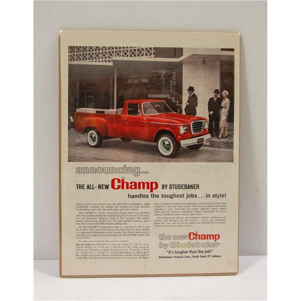 1960 STUDEBAKER CHAMP PICK-UP AD