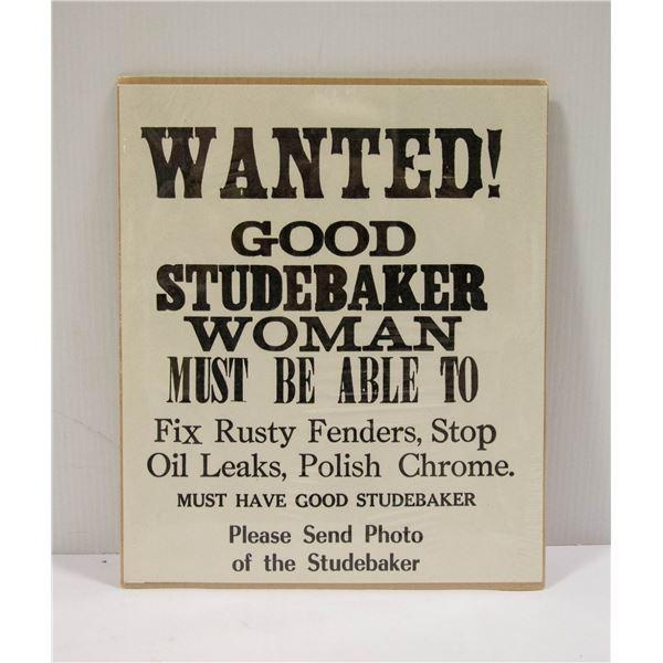 WANTED STUDEBAKER WOMAN