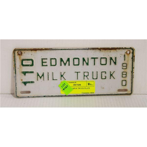 EDMONTON MILK TRUCK PLATE 1980