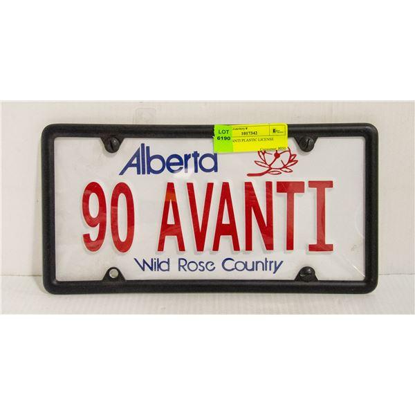1990 AVANTI PLASTIC LICENSE PLATE