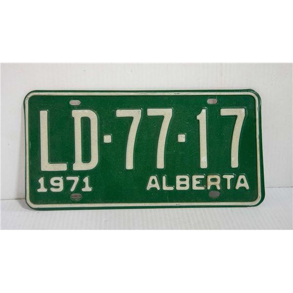 TWO 1971 ALBERTA LICENSE PLATES