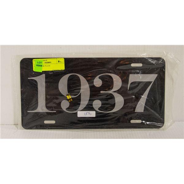 1937 LICENSE PLATE